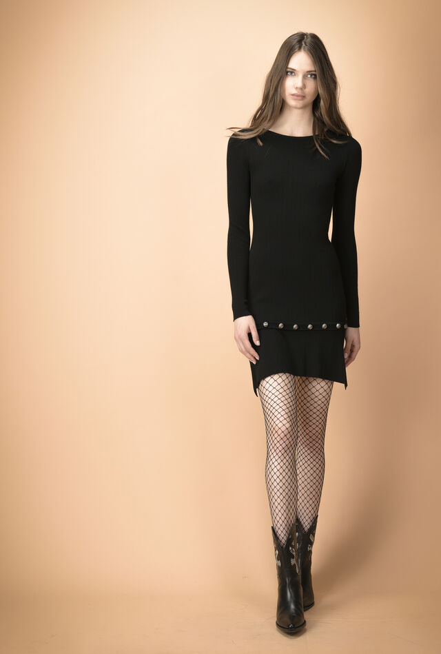Long-sleeved dress with studs