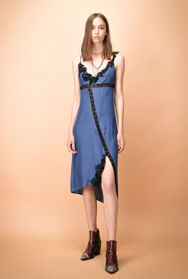 Slip cloth dress with lace inserts
