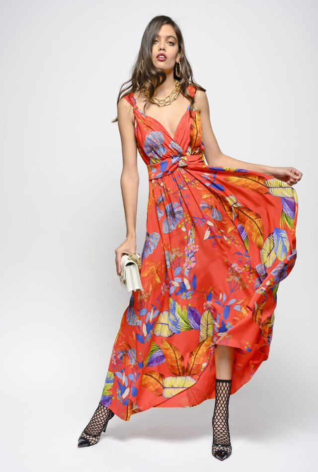 Long Amazonian print twill dress
