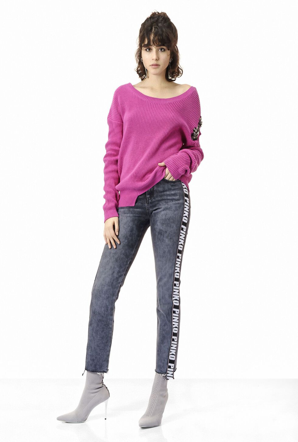Thin rib knit pullover with deep scoop neck. The wedge-shaped cut ... 162bc42bc9e