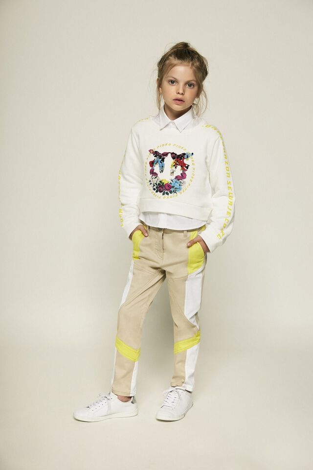 Cropped cotton sweatshirt with Love Birds print