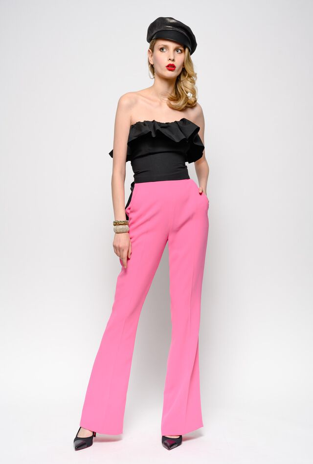 Flared poly crepe trousers