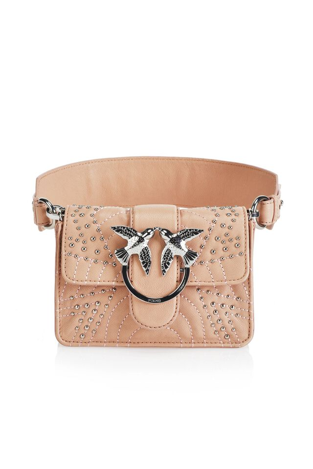 Quilted leather belt-bag with jewel fastening