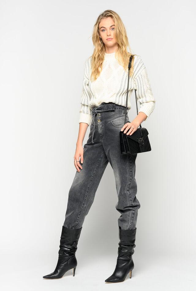 Bustier-style high-waist jeans