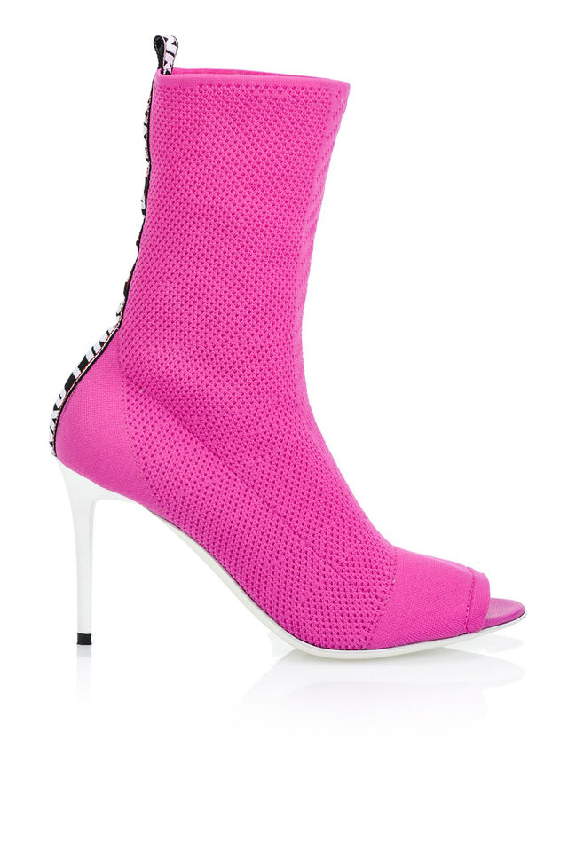 Open-toe stretch-knit ankle boots with logo
