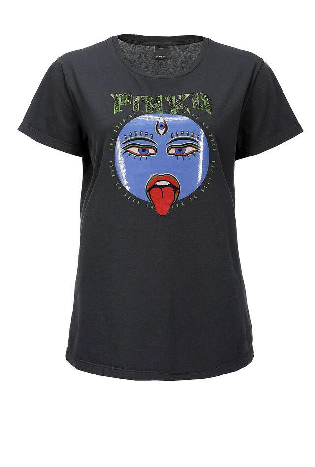 T-shirt with Kali print and embroidery
