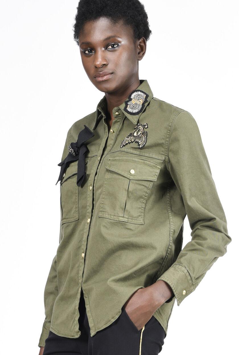 Camicia militare in gabardina di cotone