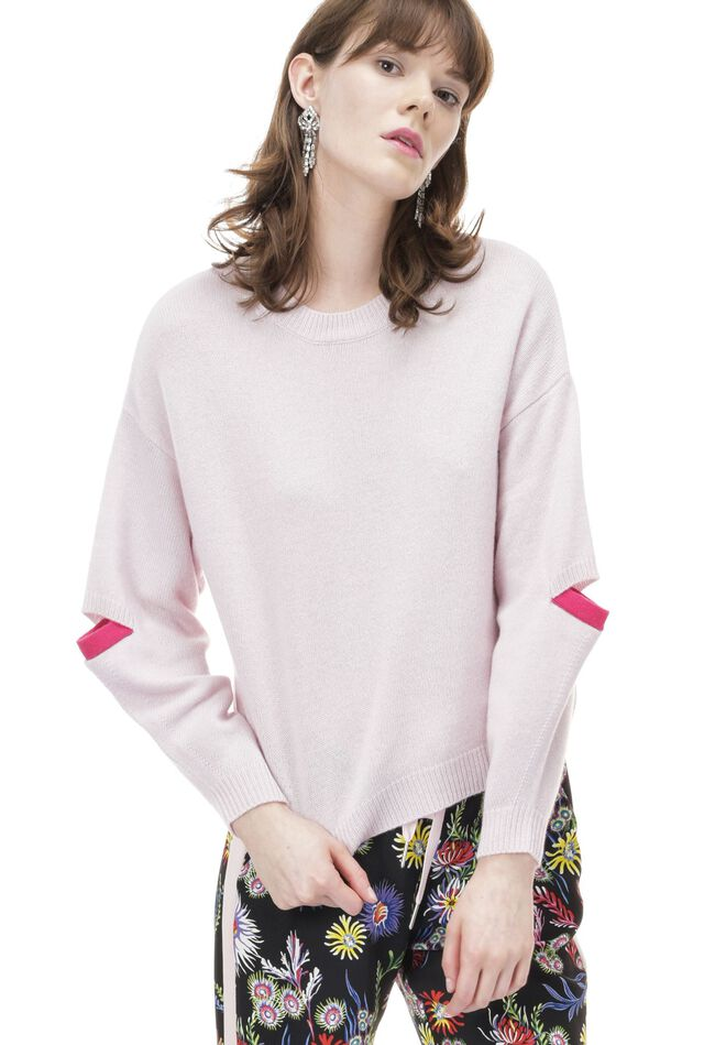 Round-neck cashmere pullover with cut-outs on the elbows