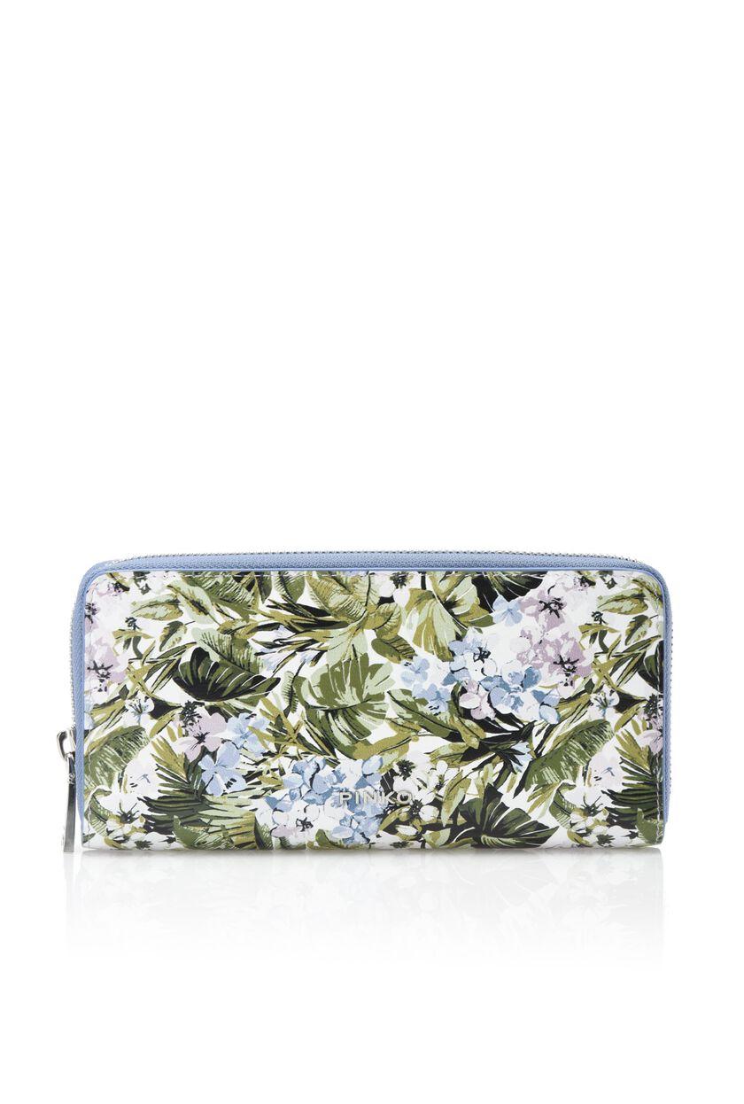 Portafoglio in pelle con stampa floreale