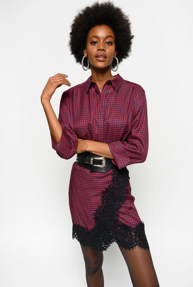 Vichy twill shirt dress