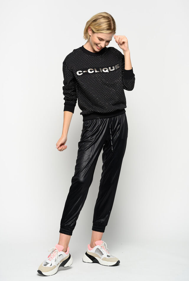 Glossy interlock jogging bottoms