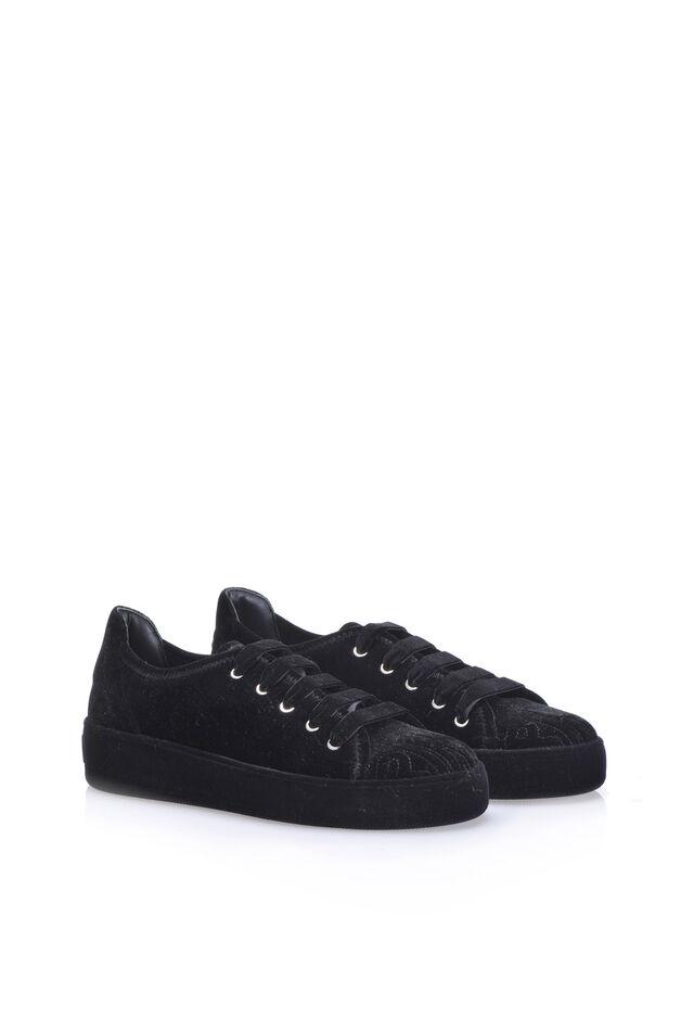 Sneakers flatform di velluto