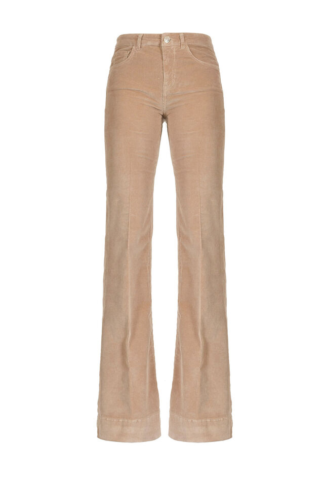 Maxi flare trousers in fine-ribbed corduroy
