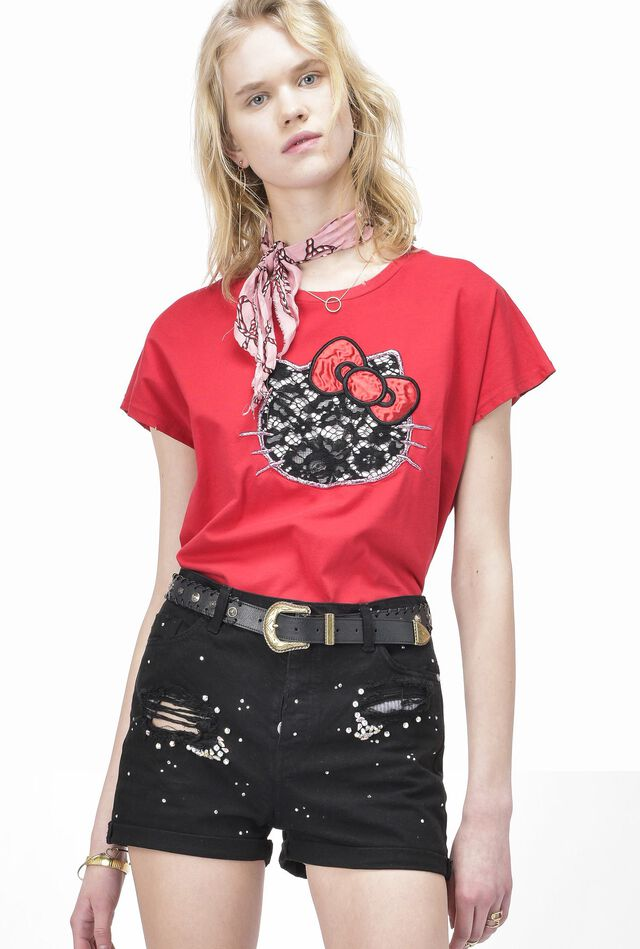 Cotton jersey T-shirt with embroidered decorations