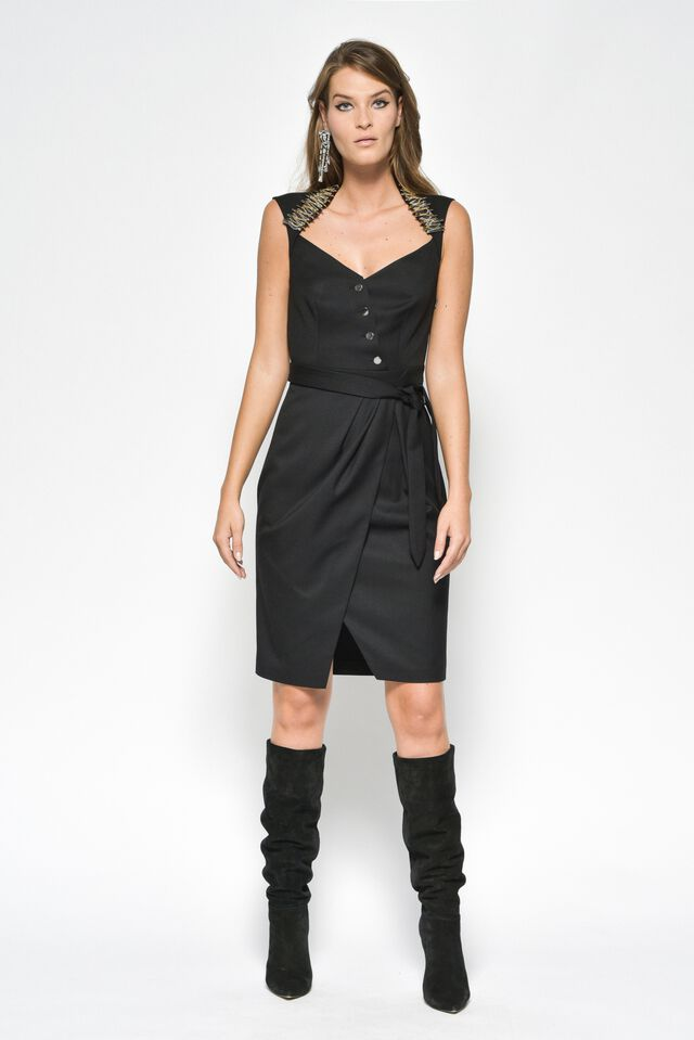 Sleeveless dress in technical twill