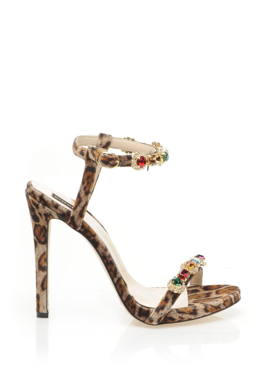 Sandali gioiello di velluto maculato