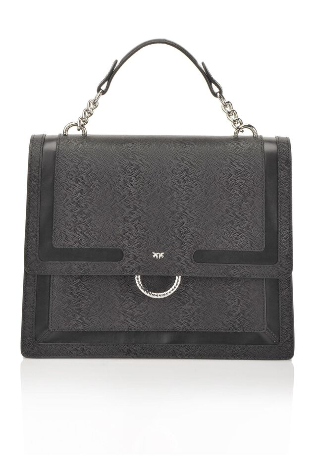 Caviar flap bag in caviar-effect leather with inlays