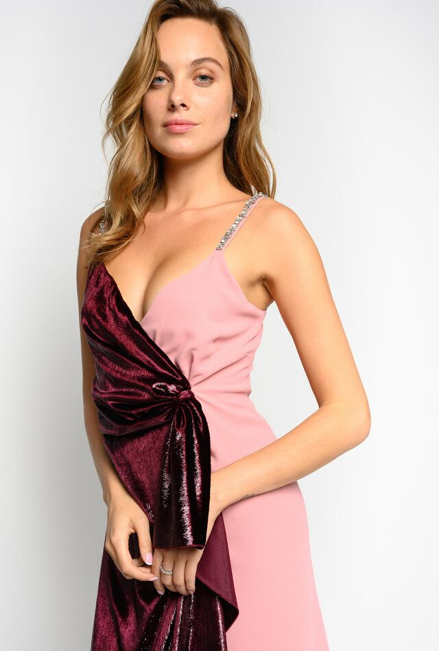 Velvet and satin dress