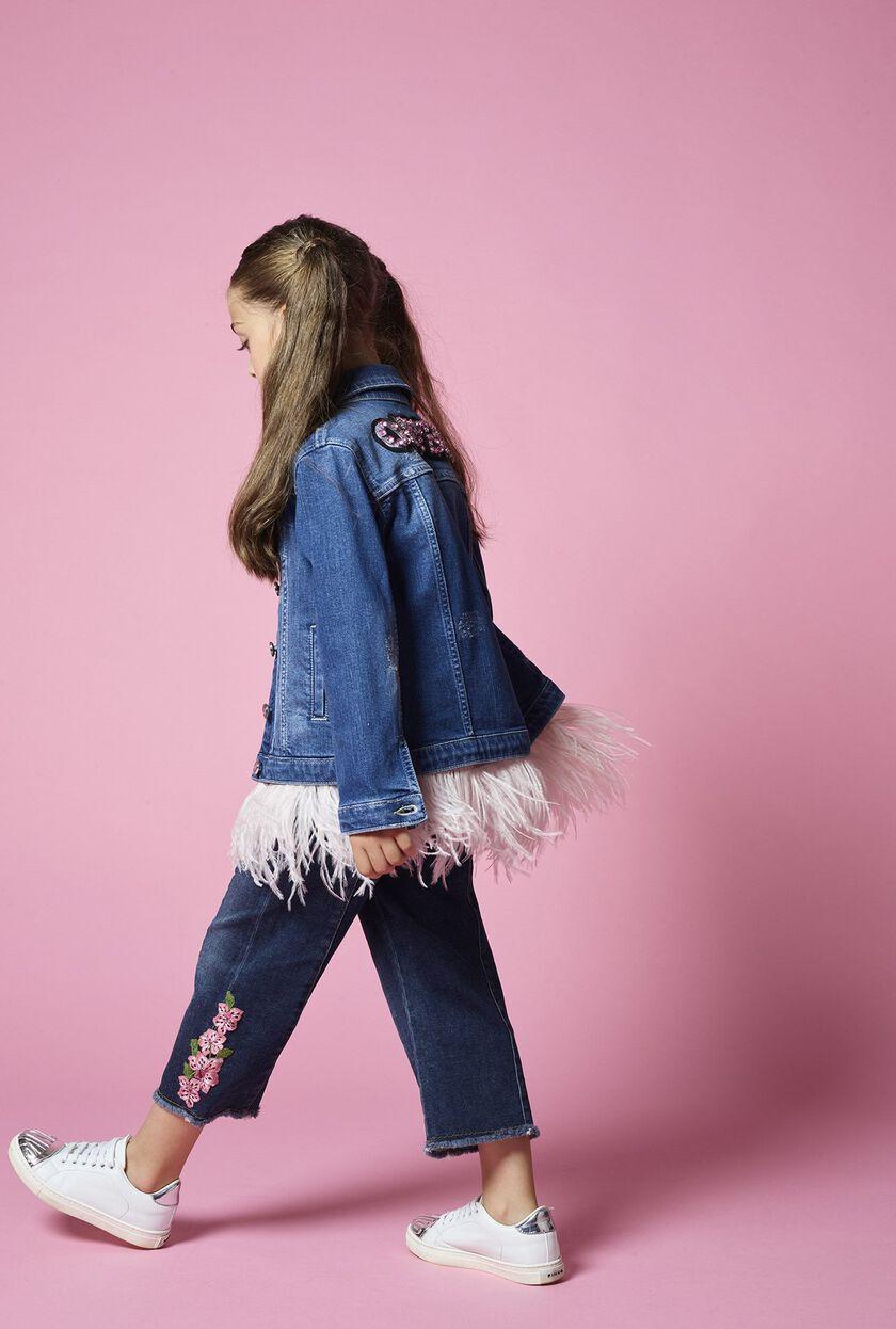 Denim-look cropped fleece trousers