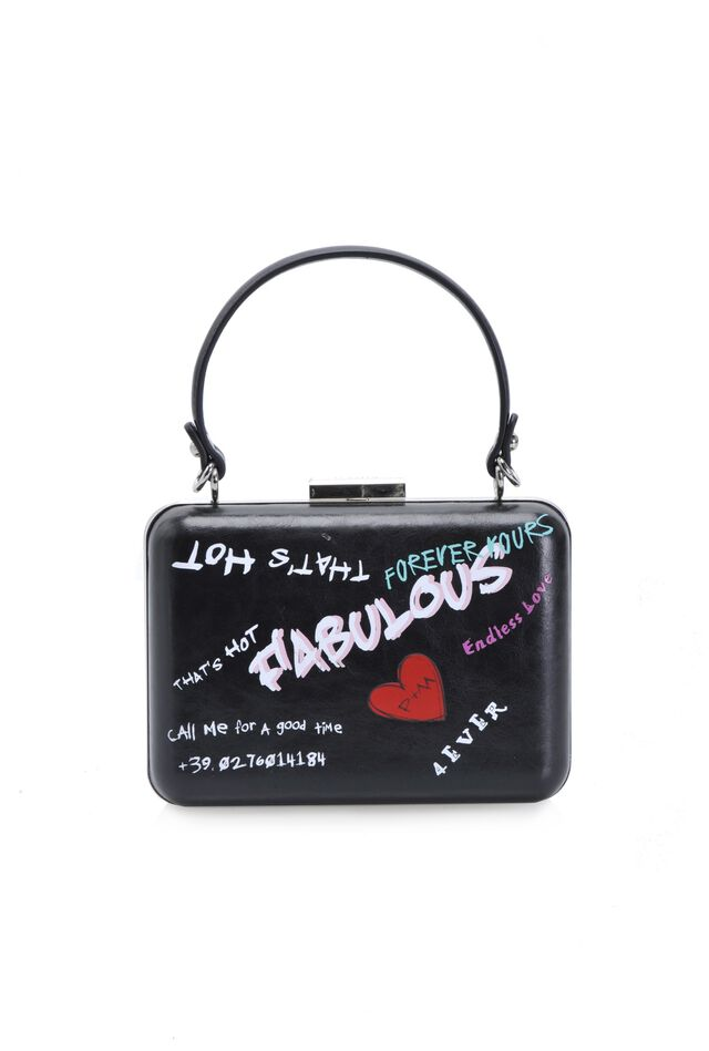 Clutch rigida Fabulous in pelle stampa graffiti