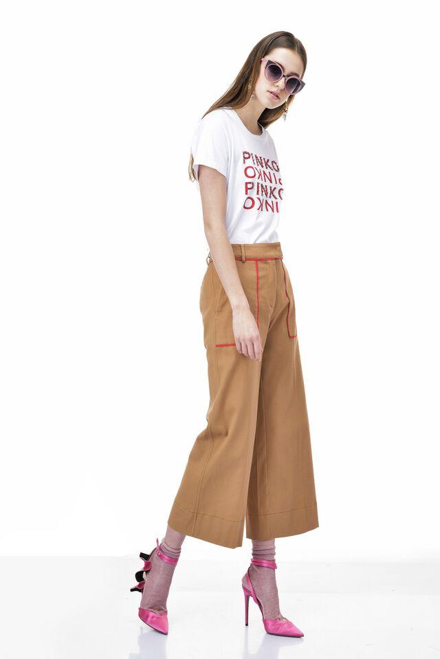 Pantalone cropped in stuoia di cotone