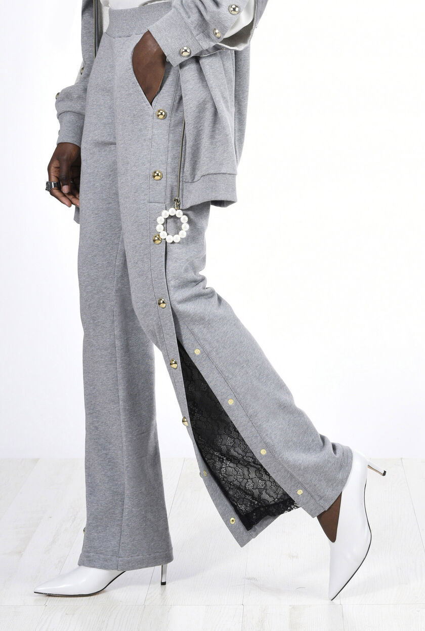 Fleece trousers with pearls