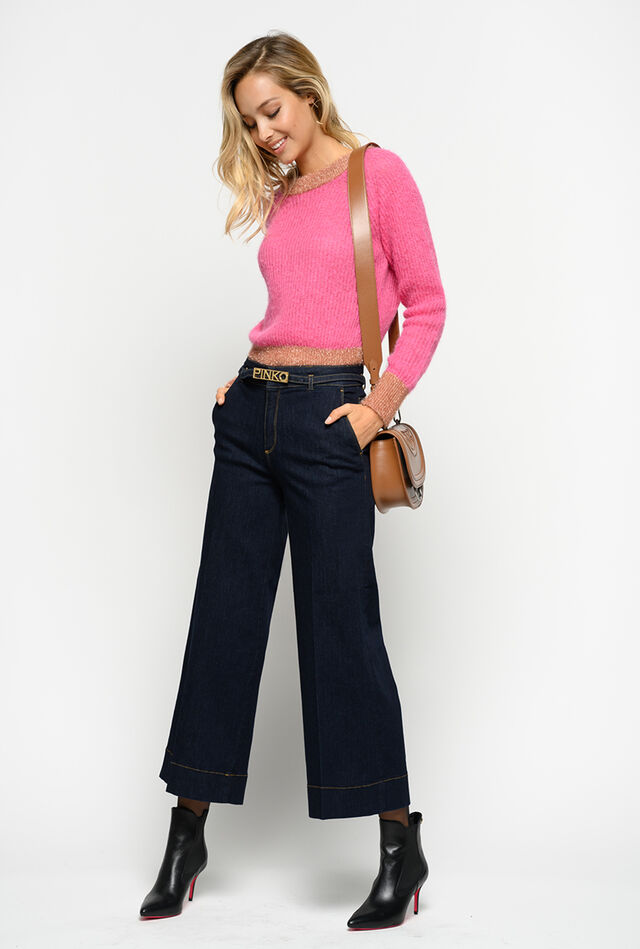Slim palazzo jeans in stretch denim