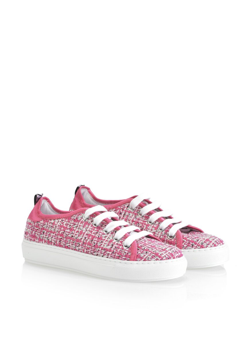Sneakers in bouclé fabric with satin trim