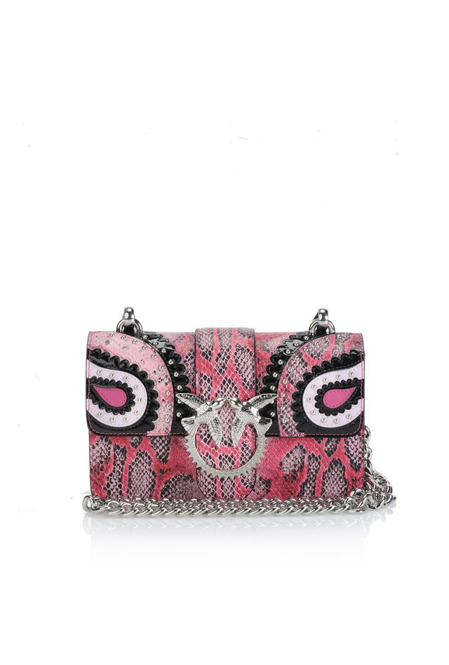 Mini Love Bag in pelle stampa pitone con intarsi