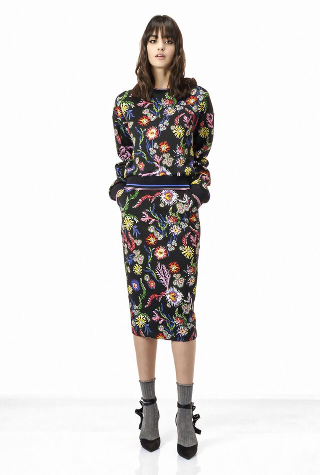 Neoprene sweatshirt with floral print