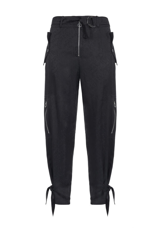 Pantaloni cargo in jacquard fluido logato