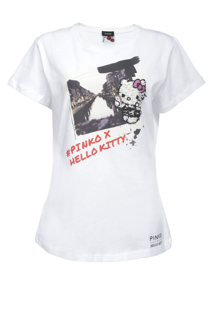 Camiseta estampada de punto liso de algodón