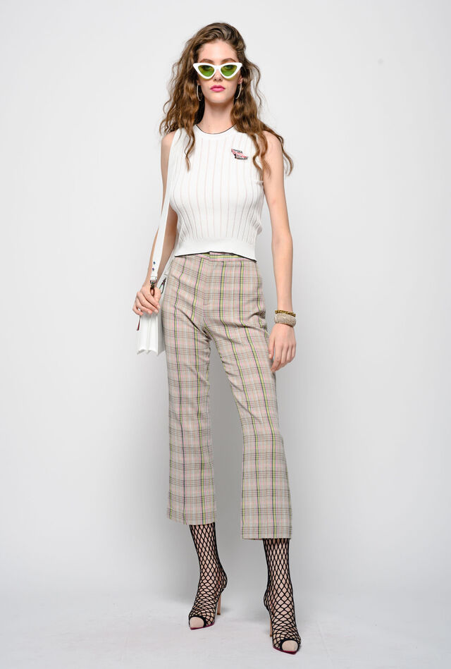 Decorated cotton crepe trousers