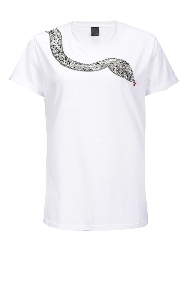 Jersey T-shirt with snake embroidery