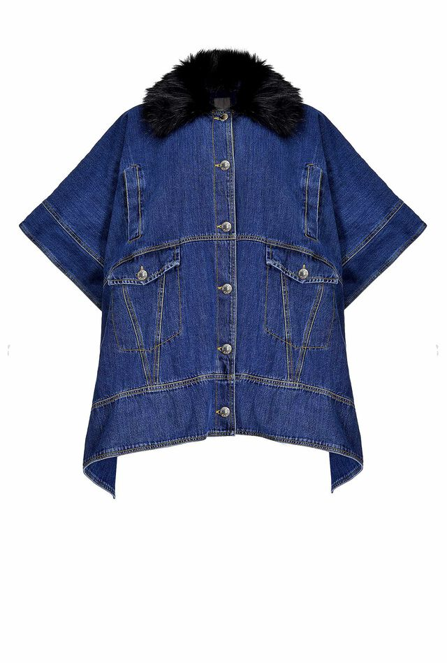 Mantella in denim rigido e faux fur
