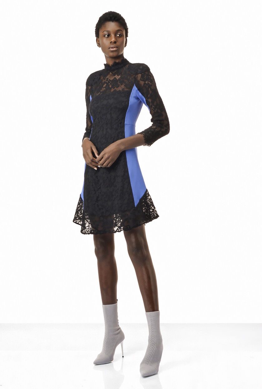 Dress with lace inserts