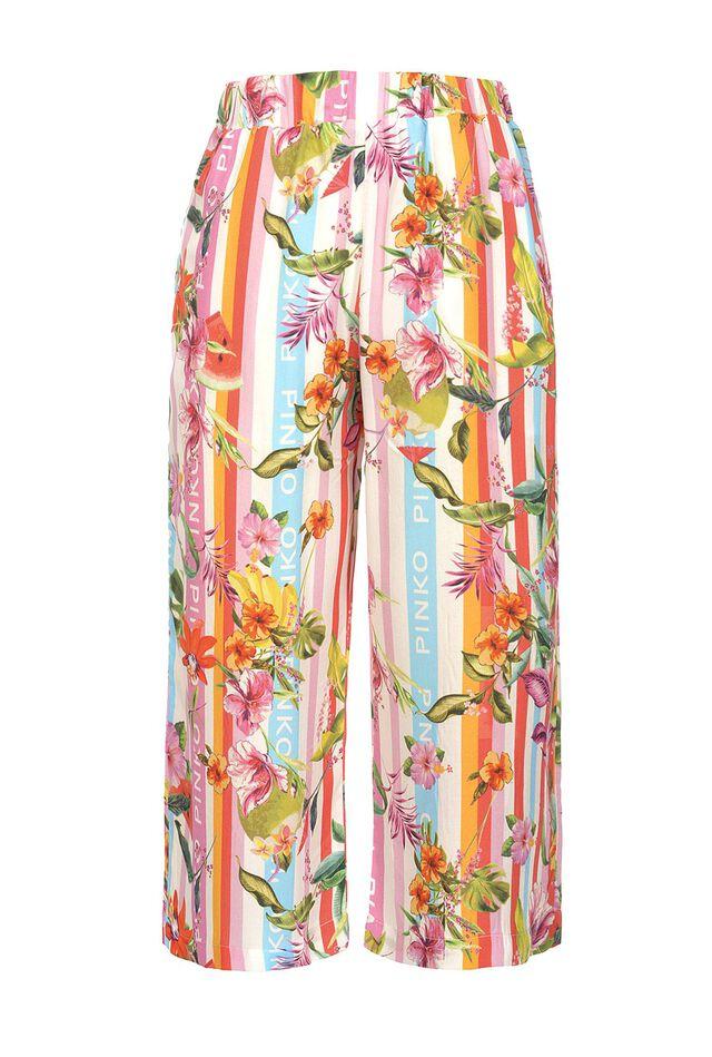 Pantaloni cropped in viscosa stampa baiadera