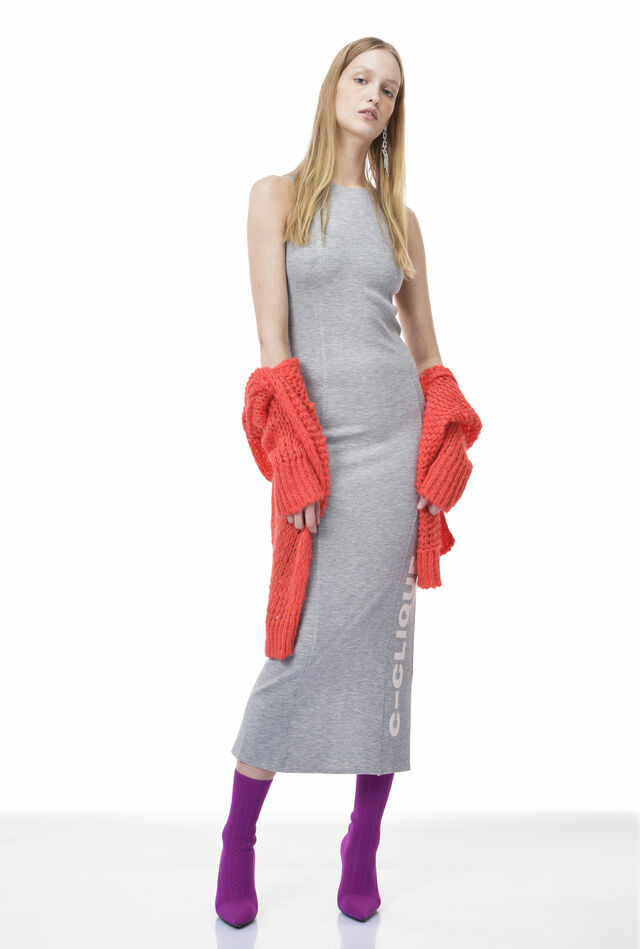 Long dress in technical double layer jersey