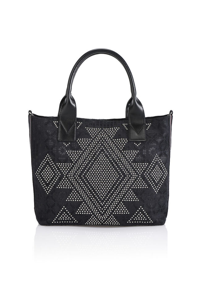 Shopping bag con pizzo e borchie