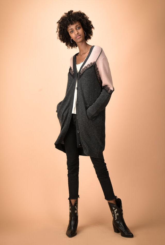 Maxi cardigan in cashmere blend