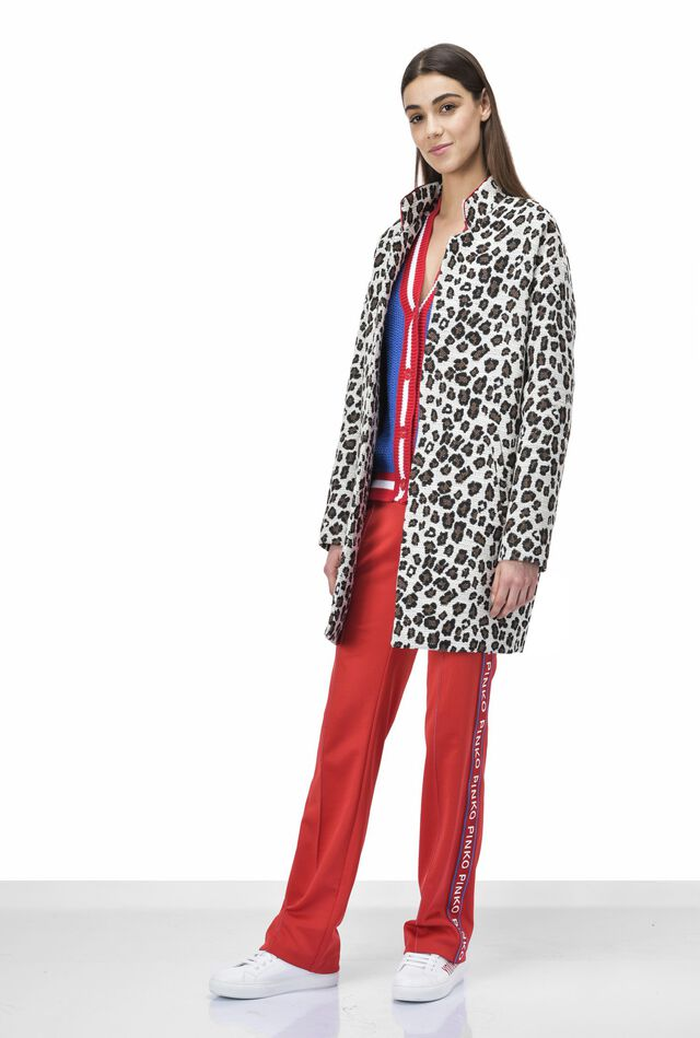 Cappotto in jacquard stampa animalier