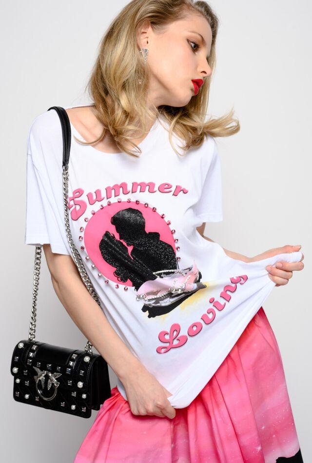 Summer Loving cotton jersey T-shirt with rhinestones