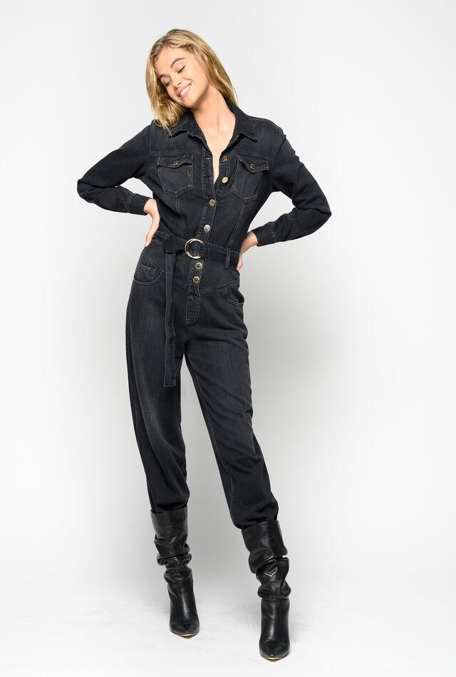 Total black denim jumpsuit