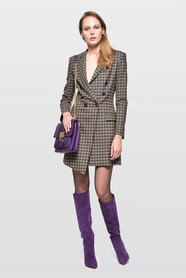 Stretch wool coat dress with micro-check pattern