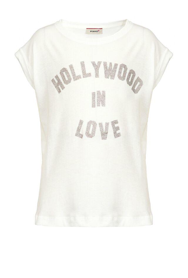 T-shirt in jersey di cotone con stampa glitter