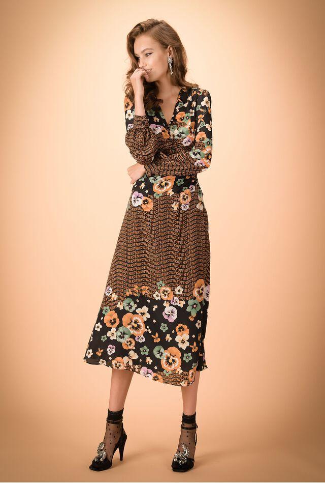 Printed crêpe de Chine long dress