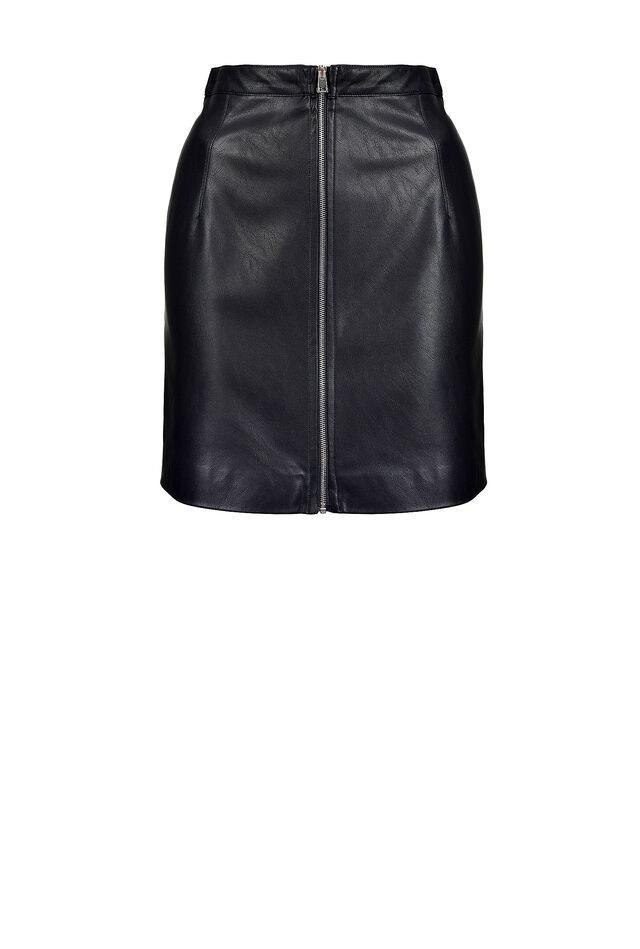 Leather look mini skirt