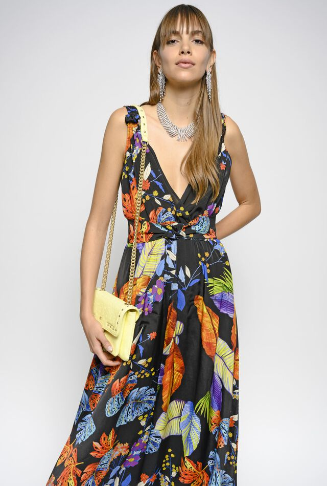 Long Amazonian print twill dress