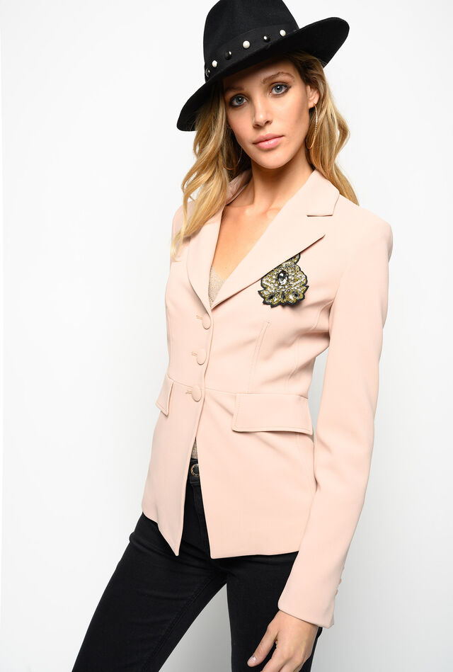 Stretch crepe de chine blazer