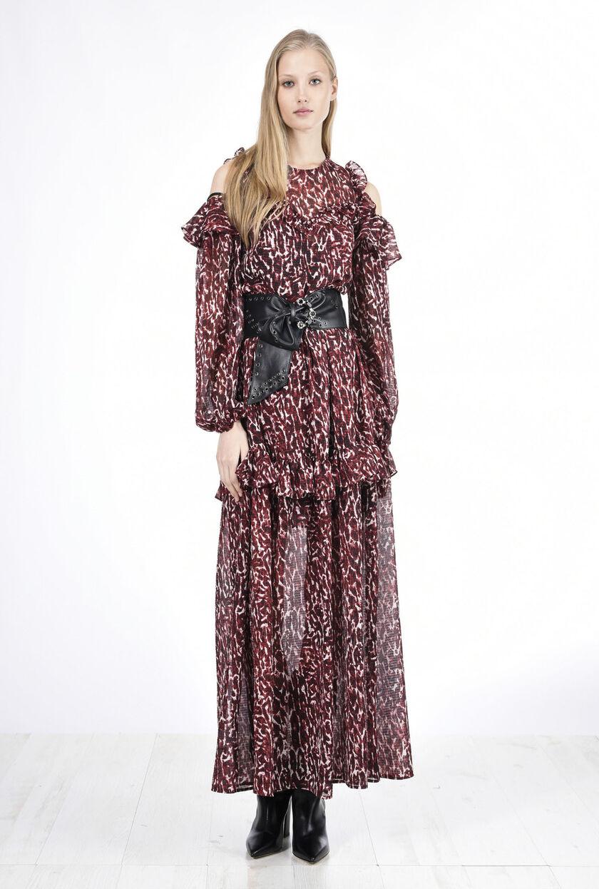 Vestido de crepé georgette con estampado de lunares